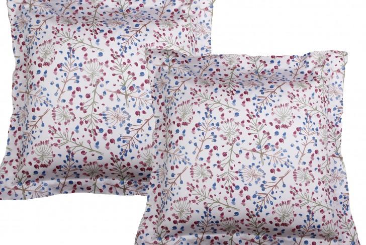 Lot de 2 Taies d'oreiller 63x63 cm satin de coton OMBELLIFERE