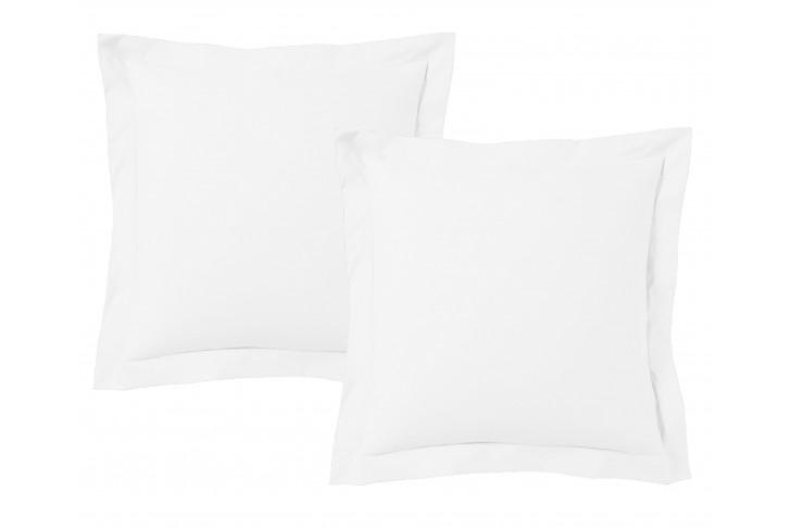 Lot de 2 Taies d'oreiller 63x63 cm satin de coton Blanc