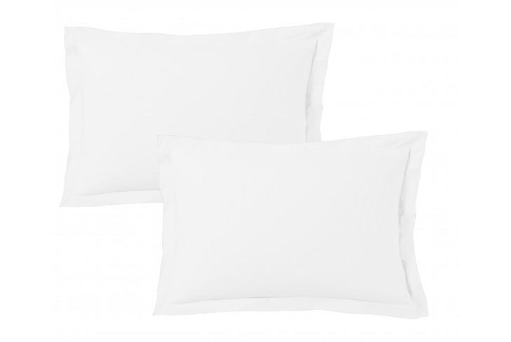 Lot de 2 Taies d'oreiller 50x70 cm satin de coton blanc