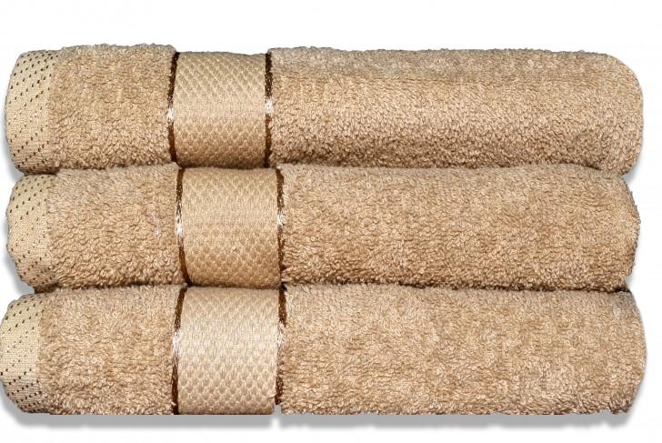 Lot de 3 Maxi draps de bain 100x150cm Beige