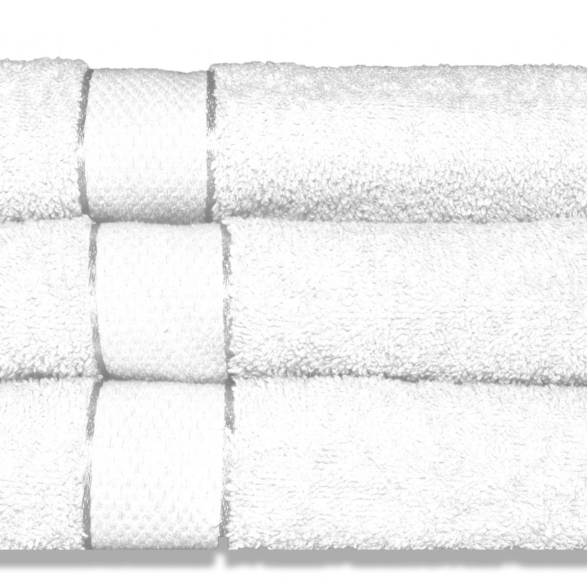 Lot de 3 Draps de bain 70x130cm Blanc