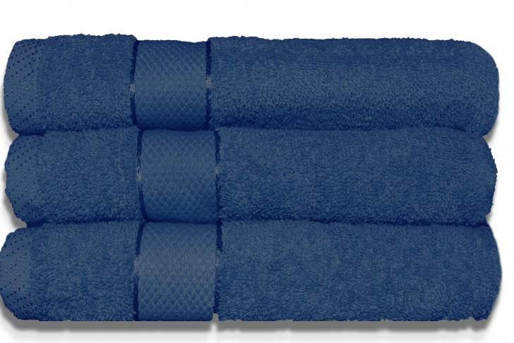 Lot de 3 Maxi draps de bain 100x150cm Marine