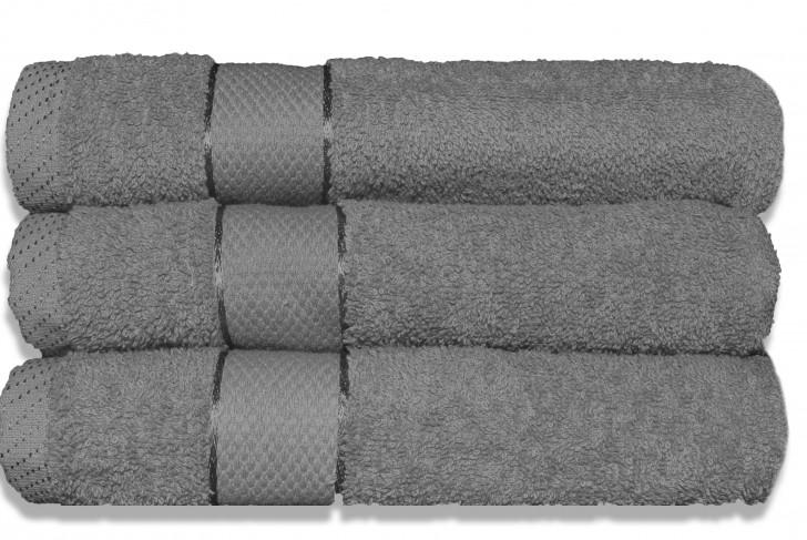 Lot de 3 Maxi draps de bain 100x150 cm Gris