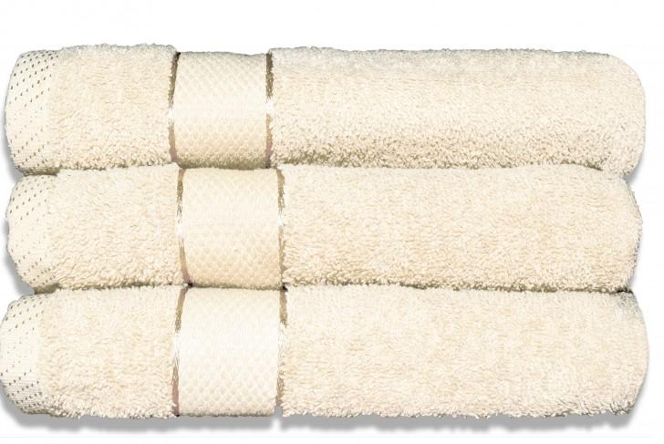 Lot de 3 Maxi draps de bain 100x150 cm Ecru