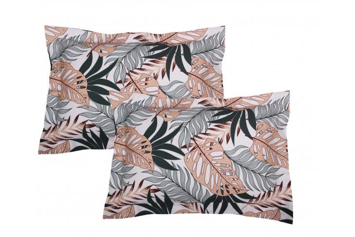 Lot de 2 Taies d'oreiller 50x70 cm satin de coton TROPICAL